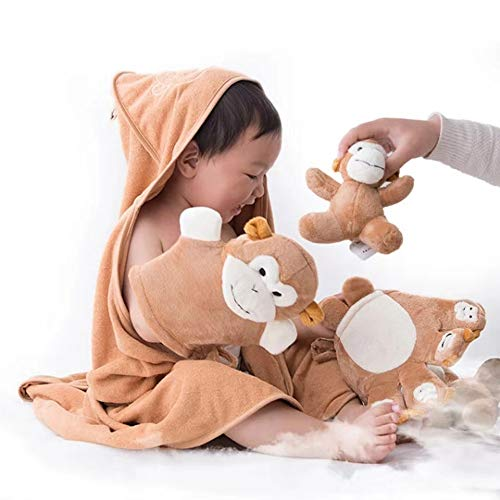 Hooded Baby Bath Towel Cute Animal Pattern Hooded Baby Towel Baby Blanket Cotton Set for Boys and Girls from Zero to Three Years Old