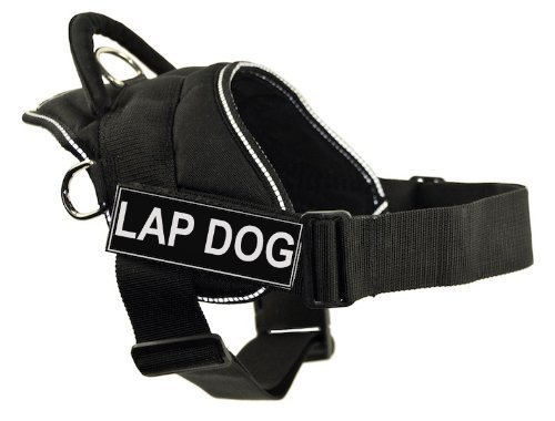 DT Fun Harness, Lap Dog, Black With Reflective Trim, X-Small Fits Girth Size  20-Inch to 23-Inch by Dean & Tyler, Inc