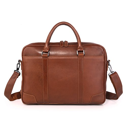 Texbo Genuine Top Cow Leather Business Briefcase Fit 15.6'' Laptop Bag Tote (Brown) by Texbo (Image #6)