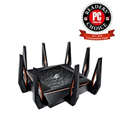 Built for gaming with high speed & Gigabit ISP services, the GT AX11000 offers that fastest Wi Fi for current 802.11AC devices as well as next Gen 802.11ax devices. The GT AX11000 produces Gigabit speeds while providing extensive range fo...