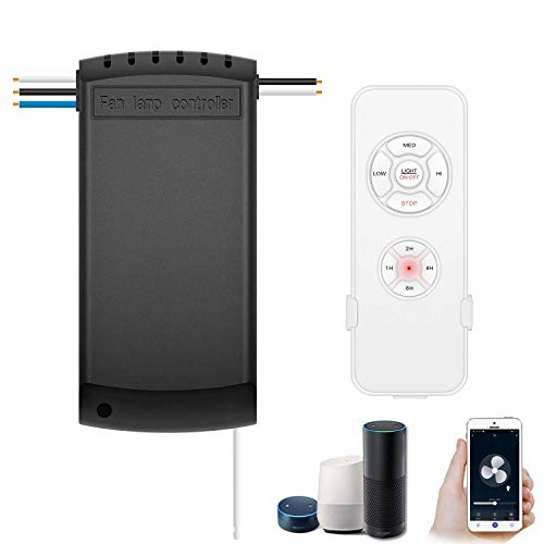 Smart WiFi Fan Switch Ceiling Fan and Light Remote Control Kit, WiFi Fan Controller Compatible with Alexa Google, Phone APP Control, No Hub Required, Universal Ceiling Fan Light Remote Control (Wiring Up A Ceiling Fan With A Light)