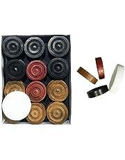 عملات كاروم خشبية مع عملة هجوم، بسُمك 6 ملم، 24 عملة + 1 عملة هجوم