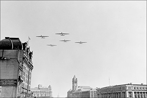 24x36 Poster . B-36 Peacemaker Bombers, Flying Over Washington D.C. 1949