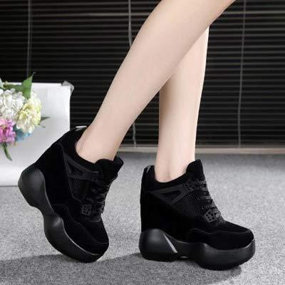 Muffin Cuero Black Gruesos De Zapatos Alto Deportivos Mujer Tacón Más Para Yukun Otoño IqXTaO