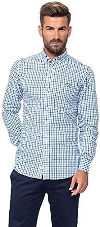 Spagnolo Camisa Popelin Algodon Boton 0025, Cuadro Azul 2 ...