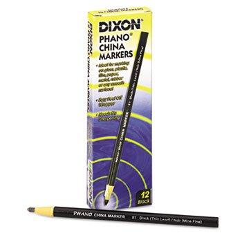Dixon Ticonderoga China Marker, Black, Thin, Dozen by Dixon Ticonderoga
