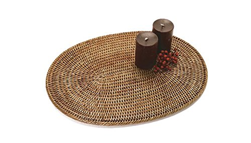 Artifacts Trading Company Rattan Large Oval Placemat, 20