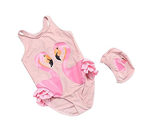 Cheap Quavey Baby Girl Swimsuit Cute Flamingos Swan One Piece Swimwear With Hat(Flamingo,M)