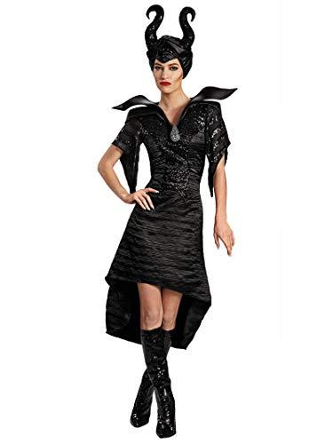 Disguise Women's Disney Maleficent Movie Maleficent Christening Deluxe Women's Glam Gown Costume, Black, Medium/8-10