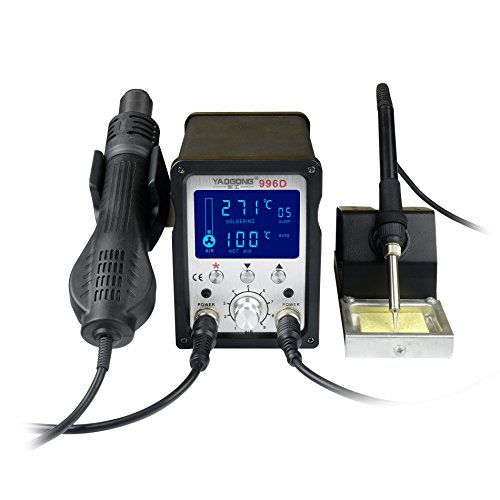 YAOGONG 996D# Hot Air Brushless 2 in 1 ESD Safe LCD Automatic Digital Soldering SMD solder Rework Station by YAOGONG (Image #8)
