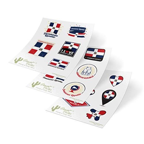 Dominican Republic Country Flag Stickers Decals 3 Sheets 17 Total Pieces Kids Logo Scrapbook Car Vinyl Window Bumper Laptop 3 Sheets (Dominican Republic Scrapbooking)