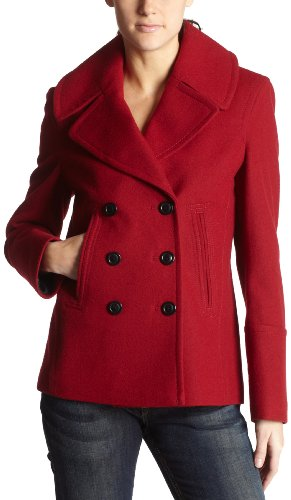 Fleet Street Women's Melton Coat,Tango Red,Large