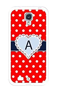 iZERCASE Monogram Personalized Red Heart Polkadots Pattern RUBBER Samsung Galaxy S4 Case - Fits Samsung Galaxy S4 T-Mobile, AT&T, Sprint, Verizon and International (White)
