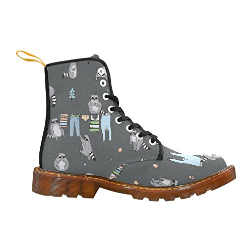 Interestprint Skull Cute Pattern Print Lace Up Botas Para Hombres Cute Raccoon Animal Doodle