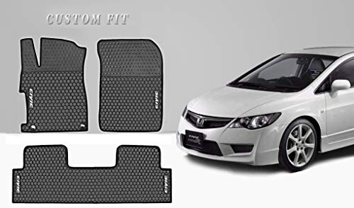Ucaskin Car Mat Custom Fit for Honda Civic 9th 2012 2013 2014 2015 Floor Liners Rubber All Weather Black White Heavy Duty Mats Set Auto Liner Front Rear Protection Odorless Easy Clean