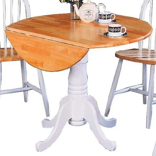 Damen Round Pedestal Drop Leaf Table Natural Brown and White