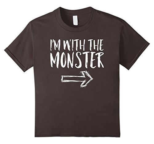 Kids I'm With The Monster Halloween Costume Funny Cute Shirt 10 Asphalt