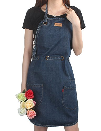 - VANTOO Adjustable 100% Cotton Kitchen Chef Art Painting Denim Jean Apron with Pockets,Navy Blue
