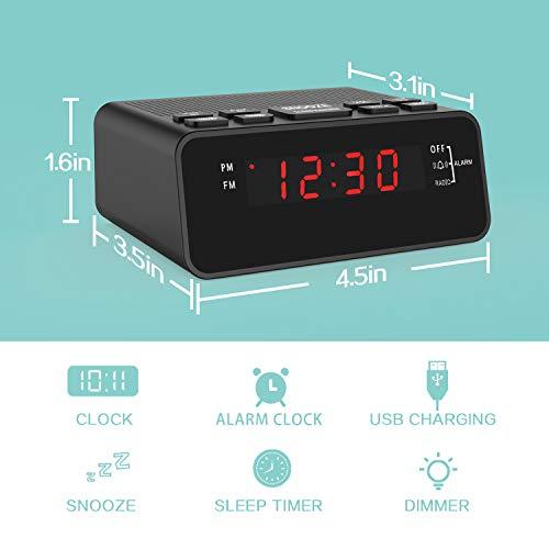 Dorzu Alarm Clock Radio,FM Digital Clock Radio with USB Charger Port for Bedroom by Dorzu (Image #2)