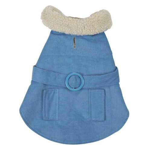 East Side Collection 20-Inch Cotton/Polyester Sherpa Corduroy Dog Coat, Large, Blue, My Pet Supplies
