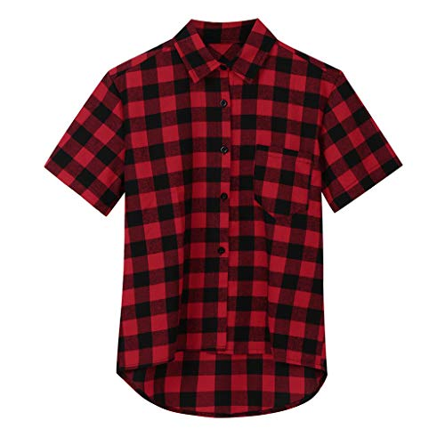 Shirt for Men, F_Gotal Men's T-Shirts Fashion Short Sleeve Lattice Plaid Buttons Down Loose Casual Sport Blouse Tops Red