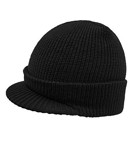 Hombres Uni Punto Invierno incl Visera HE0 Hutfibel Los De Lana Beanie Gorro W16 Para Sombrero FI EveryHead 59160 Negro Con Fiebig 0qzCII