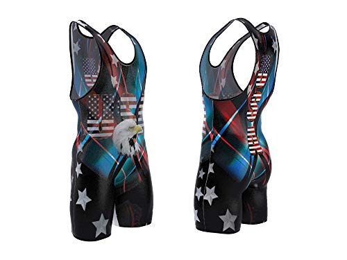 4 Time All American USA Black Singlet Size M