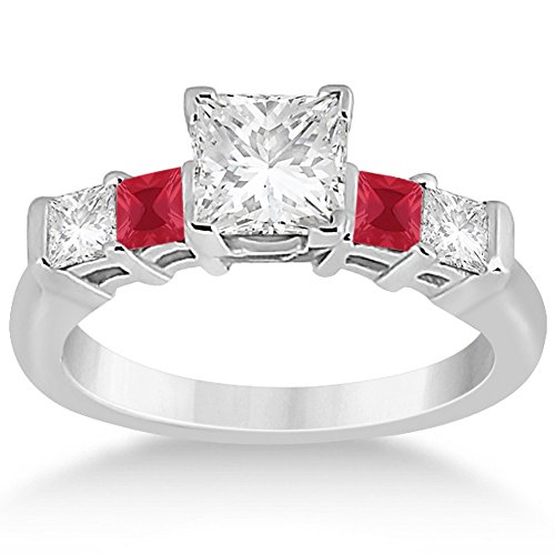 Princess Square Cut Five Stone Diamond and Ruby Engagement Ring Palladium (0.46)ct