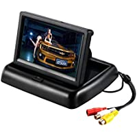"4.3"" Car Auto Foldable Monitor LCD Screen Dash Stand w/ 3M Sticker, E-Kylin 12-24V Input Universal for Truck Auto 2 RCA…"