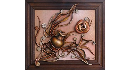 3D Hand Painted Leather Wall Art Decor Picture, Hand Painted Ceramic Vase, Leather Rose, Acrylic Paste Relief Background, Brown Wooden Frame