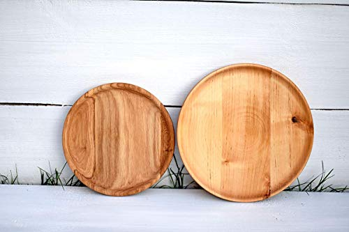 SET of 2 Wood Plates Wooden Plates for Kids Flatware Rustic Wedding Dinner Plates Rustic Wood Dish Wooden Serving Plateau Baby Shower Decorations Eco-friendly