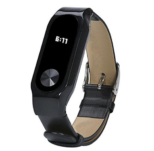 Anboo Replacement Luxury PU Leather Band Strap Bracelet For Xiaomi Mi Band 2 Smartband (B) (Black)