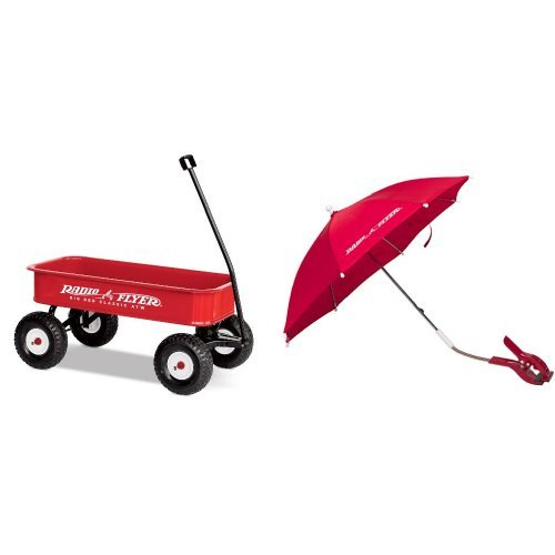 Radio Flyer Big Red Classic ATW with Wagon Umbrella Bundle