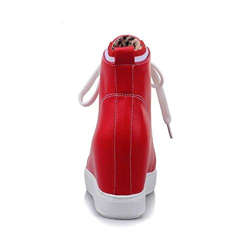 Carolbar Donna Allacciate Le Scarpe Da Ginnastica Moda Casual Tacco Moda Nascosta Rosso
