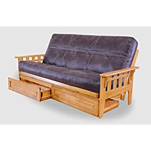 Full with Drawers Austin Hardwood Futon | Palance Steel Mattress