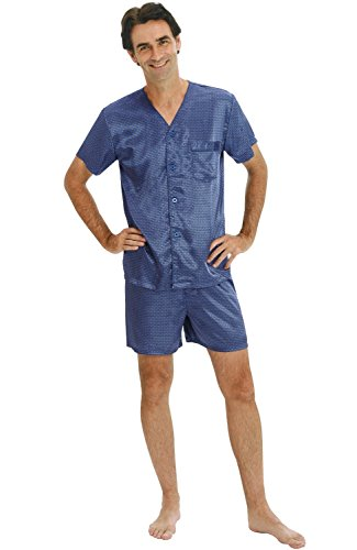 Mens Satin Pajamas, Short V-Neck Pj Set