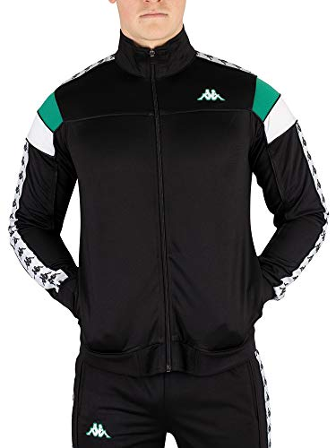 Kappa Mens 222 Banda Merez 90s Slim Track Top Black/Green/White L