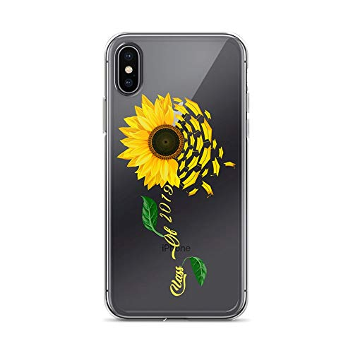 iPhone X/XS Pure Clear Case Crystal Clear Cases Cover Class of 2019 Graduate Sunflower for Women Girls Transparent