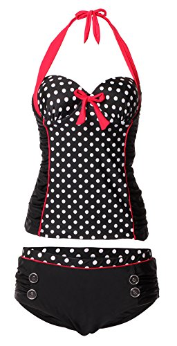 Booty Gal Women's Polka Dot Tankini 2 Pic Bathing Swimsuits Bikini Swimwear