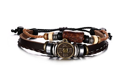 VNOX Vintage Ancient Chinese Coin Hematite Bead Braided Rope Genuine Leather Bracelet,Length Adjustable (Coin Leather Bracelet)