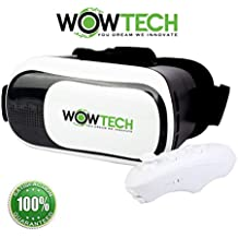 """VR Headset Virtual Reality Headset Glasses,Vr Box V3.0 Goggles With Bluetooth Controller by WOWTECH, 3D Movies and Games on Smartphones 4~6 inch Android and Ios, with Ebook User Guide and Storage Bag"""""""