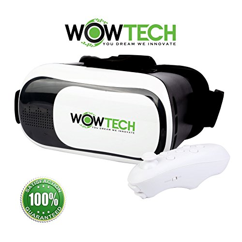 Wowtech VR BOX 3 Virtual Reality Headset Glasses with Bluetooth Controller for 4~6-inch Smartphones Android and Ios, with Ebook User Guide and Storage Bag