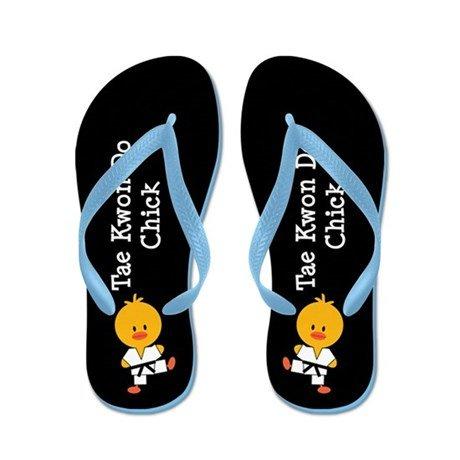 (Lplpol Tae Kwon Do Chick Flip Flops for Kids Adult Beach Sandals Pool Shoes Party Slippers Black Pink Blue Belt for Chosen)