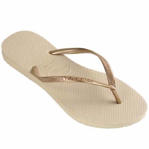904325ee2 BRAND NEW HAVAIANAS WOMEN S Slim Flip Flops Sandals SAND GREY LIGHT GOLDEN (SAND  GREY LIGHT GOLDEN