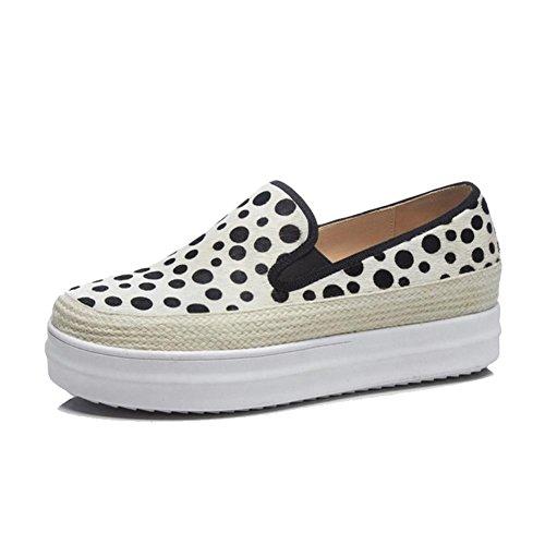 KJJDE Tejer Mujer White WSXY Proceso Zapatos Mujeres Loafers con de Plataforma Casual A1920 Moda Inn8YO