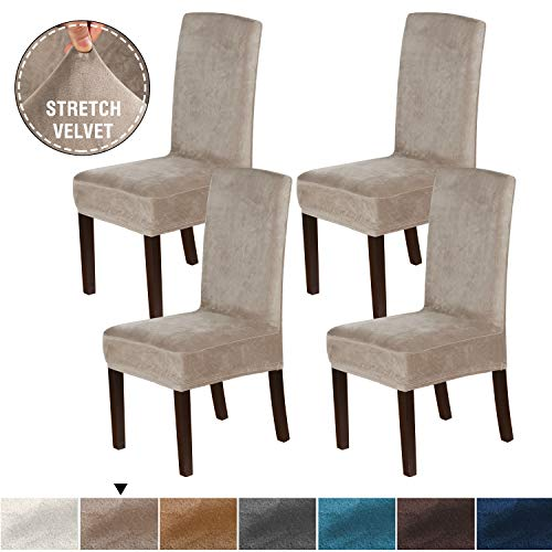 H.VERSAILTEX 4PCS Real Velvet Dining Room Chair Slipcovers Super Stretch Spill Resistant Removable Washable Anti-Dust High Dining Chair Protectors Slipcovers Dining Chair Covers(Taupe)