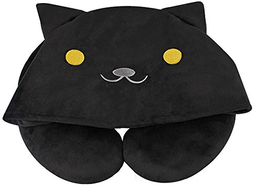 Price comparison product image MathewArt Cartoon Cat U-Shaped Plush Soft Pillows Neck Pillow with Hood