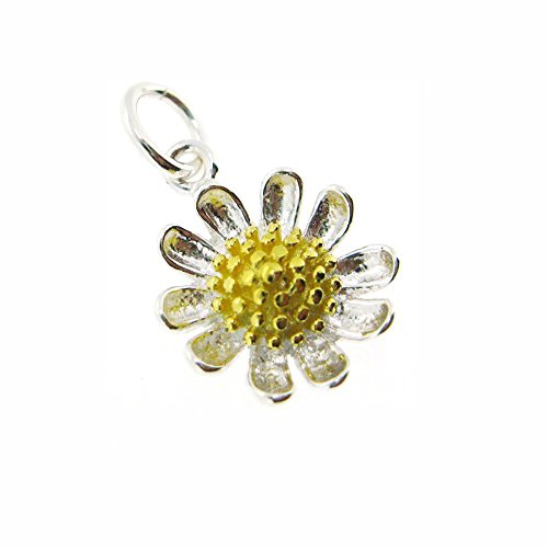 (Sunflower Charm - Sterling Silver Sunflower Charm- Two-Tone Charm - Daisy Flower Pendant (1 pc))