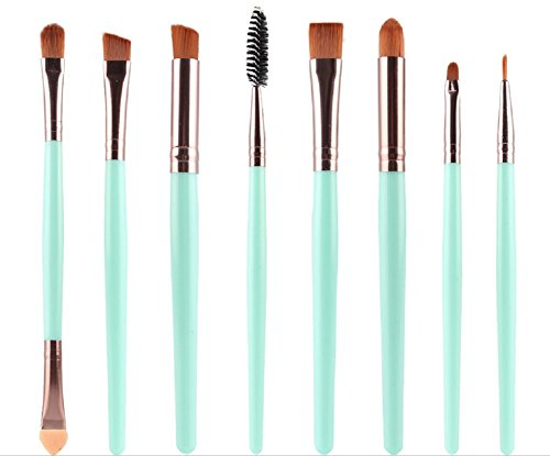 KOLIGHT Set of 8pcs DIY Eye Brushes Set Eyeliner Eyeshadow Blending Pencil Brush Foundation Cosmetic Makeup (Green+Coffee)