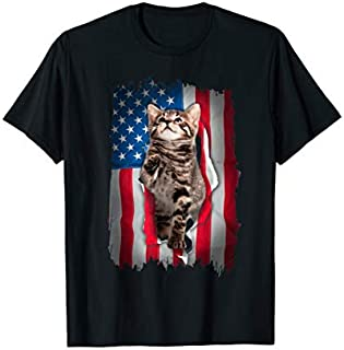 American Wirehair Cat s USA Flag 4th Of July Gifts T-shirt | Size S - 5XL
